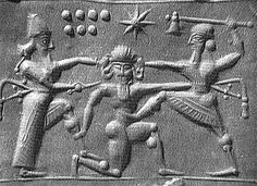Gilgamesh and Enkidu, Cylinder Seal depicts the monster Humbaba illustrating the correct posture