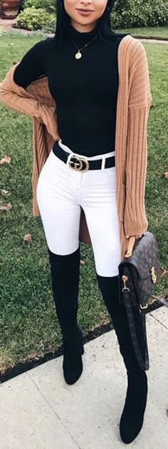 Trending Women's Thigh High Boots Outfit Ideas for Fall or Winter 2018 Cute Casual Suede Thigh High Boots Outfit Ideas for Women Fall or Winter – Lindas ideas de ropa de otoño o invierno para mujeres – www. Womens Thigh High Boots, Thigh High Boots Outfit, White Pants Outfit, Thigh High Outfits, Winter Boots Outfits, Fall Outfits, Preppy Outfits, Outfit Winter, Girly Outfits