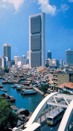 singapore, river, boats, skyscrapers, metropolis