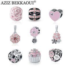사랑스러운 핑크 구슬 원래 판도라 팔찌 목걸이 큰 구멍 Diy 매력 에나멜 심장 모양 펜던트 소녀 선물