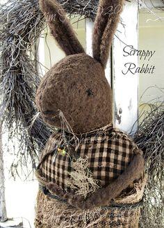 Simple Prim Rabbit Doll Adorable Primitive Fur by VeenasMercantile