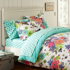 Vine Flannel Duvet Cover + Sham Pottery Barn Teen -- the girls would love  something this bright and colorful