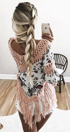Floral Crochet Fringe Top + Shorts Source. Cute braid