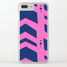 Midnight navy blue hot pink abstract geometric pattern - Our super slim Clear iPhone Cases bring a totally different look to your tech. All clear cases feature designs that are heat printed on a transparent, frosted shell. You'll love the embossed texture and high-quality images just as much as you love your phone.      - One-piece build: transparent, frosted hard plastic shell   - Heat-printed design for an embossed texture   - Open button form for direct access to device features