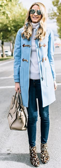 Blue And Leopard Fall Street Style Inspo by Ivory Lane