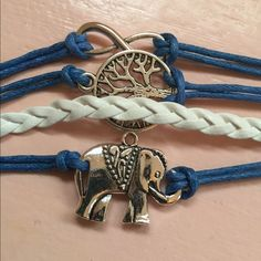 ELEPHANT INFINITY BRACELET Adj from 7 to 9 inches. Leather Jewelry Bracelets