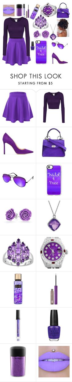 """""""a day of purple"""" by abzeezlove on Polyvore featuring LE3NO, Jimmy Choo, Proenza Schouler, AQS by Aquaswiss, Casetify, Bling Jewelry, David Yurman, Rolex, Urban Decay and Butter London"""