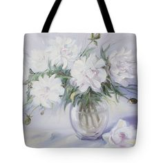 Morning With White Peonies Tote Bag for Sale by Elena Antakova Original Paintings For Sale, Art Prints For Home, White Peonies, Bag Sale, Painting Art, Fine Art Photography, Peony, Tote Bags, Wave