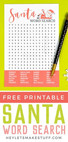 Grab your pencil, sit down by the tree, and tackle this fun Christma word search! All sorts of Santa fun is in this word search—it's the perfect printable game to tackle on Christmas Eve as you wait for those presents to appear under the tree!