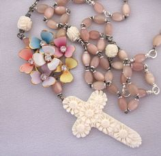 Repurposed Religious Necklace with Pink Rosary Beads - One of a Kind Design by JryenDesigns.etsy.com