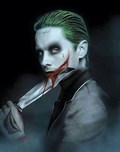 "((Open character)) The Joker. In his own mad way he loves Harley Quinn and his daughter Mavis (Ace). Even though he does abuse Harley at times. He's an influential person and large gang leader in Gotham. Calls Mavis his ""little Mavey"" Jared Leto Joker, The Joker, Joker Art, Joker Pics, Gotham City, Hellboy Tattoo, Joker Kunst, Superman, Batman Batman"