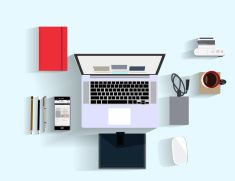 top view of modern workplace in flat design - Illustration vector art illustration