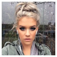 SAMANTHA R A V N D A H L @ssssamanthaa Fun bun too fun, ...Instagram... ❤ liked on Polyvore featuring hair