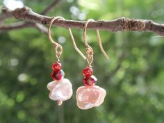 Pale pink freshwater pearl dangle earrings on rose by OneZenFlower