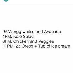 Fat Humor, Kale Salad, Oreo, Avocado, Veggies, Ice Cream, Quotes, No Churn Ice Cream, Quotations