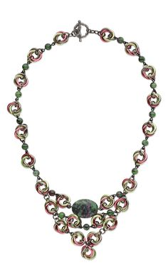 """Design Idea C73Y """"Zoisite Spirals"""" by Designer Artist Jose Crespo Fire Mountain Gems and Beads' Contest 2012 featuring Metal Finalist #chainmaille #beadingcontest #jewelrydesign #gemstonejewelry #diyjewelry #jumpringjewelry"""