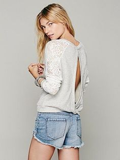 free people benedict lace crop sweatshirt. love the open back!
