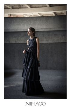 Ninaco Couture Id black silk evening gown modern beauty