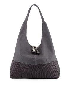 Canotta Woven-Bottom Hobo Bag, Gray by Henry Beguelin