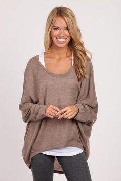 Light brown oversized slouchy sweater paired with grey leggings! If you like my pins, please follow me and subscribe to my fashion channel on youtube! It's free! Let me help u find all the things that u love from Pinterest! https://www.youtube.com/channel/UCCP8TXebOqQ_n_ouQfAfuXw