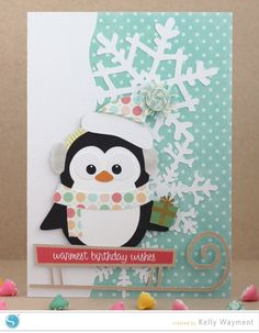 penguin card by Kelly Wayment