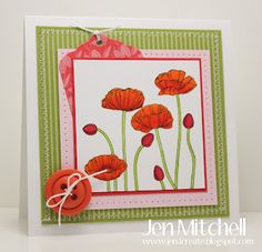 Pleasant Poppies for the colourQ 148 challenge Poppy Cards, Paper Crafts, Diy Crafts, Flower Cards, Creative Cards, Stampin Up Cards, I Card, Poppies, Birthday Cards