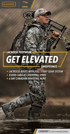 """""""Enter on #CarbonTV for a chance to WIN gear & a whitetail #hunting trip in #LaCrosseFootwear's Get Elevated #Sweeps: http://bit.ly/CarbonTVSweeps"""""""