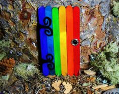 Rainbow Fairy Door, Magical Imaginative Pixie Portal, Hand Painted Wooden Home & Office Decor, LGBT Fairy Pride Garden, Rainbows, Fairies