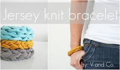 Jersey Knit Bracelet (co-ordinate with T-shirt necklace?) - 25 Handmade Gifts for 5 dollars. the36thavenue.com