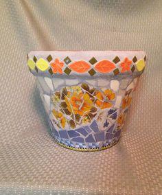 Orange and Blue Mosaic Pot by piecesofplates on Etsy