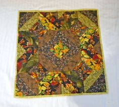 Quilted Table Topper Autumn Theme Thanksgiving by QuiltingFrenzy