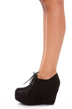 Black Suede Wedge Booties