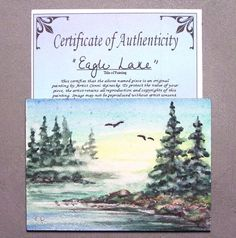 Original ACEO Eagle Lake Sunrise Forest Fog Miniature Watercolor Reinecke COA #Miniature