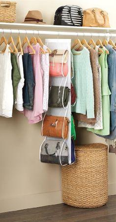 Amazon.com: Zober White Hanging Closet Handbag Holder 8 Pocket Organizer | Purse  Storage