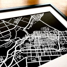 Paper cut map of Hamilton ON streets by CUTdesignsrt Custom Mats, Paper Cutting, Hamilton, Maps, Custom Design, My Etsy Shop, Frame, How To Make, Bespoke Design