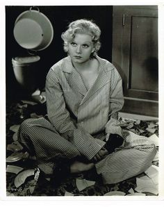 """Jean Harlow cute vintage 1936 pinup photo wearing sexy pajamas in """"Suzy"""""""