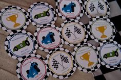 Cars Party Favor Stickers Race Car Birthday Favor Stickers set of 12 by Belleza e Luce:etsy