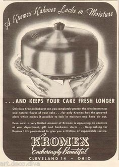 1940s vintage KROMEX Kakover CAKE SAVER Plate METAL Retro Kitchen AD  I  have this in my kitchen right now! 3dcc9a62c3987