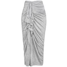 Shakuhachi Marle Feck Drape Skirt ($250) ❤ liked on Polyvore featuring skirts, midi skirt, shakuhachi, high waisted midi skirt, nylon skirt and mid-calf skirt