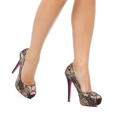 Lacey and dramatic peep toe pumps