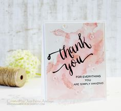 Watercolored Thank You card by: Joni Andaya for Wplus9 featuring Dream Believer and Hand Lettered Thanks stamp sets.