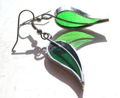 Lucky Leaves - Stained Glass Earrings - Green Leaf Womens Accessories Lightweight Jewelry Dangle Surgical Steel Hooks Metalwork
