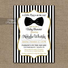 Bow Tie Baby Shower Invitations - Printable Black Gold Baby Shower Invites - Boy Bowtie Baby Shower Invitation - Black and White Stripe BGL