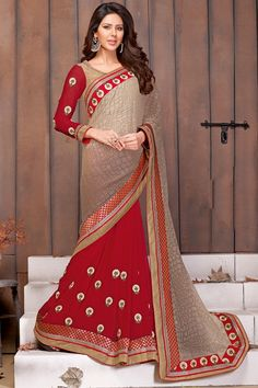 Rapturous Red and Beige Saree