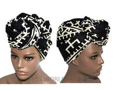 African Print Head wraps/ Head tie fabric from Africa/ Black/ Ivory Dogon Print/ African accessory fabric/ African Fabric/ Head scarf/ HT73B