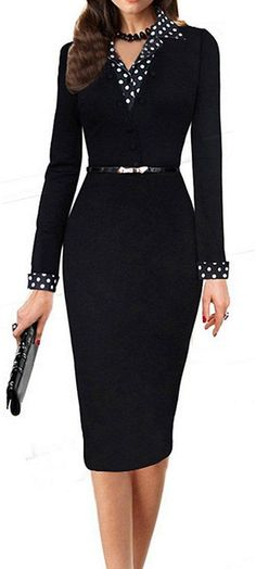 LUNAJANY Women's Black Polka Dot Long Sleeve Wear to Work Office Pencil Dress large