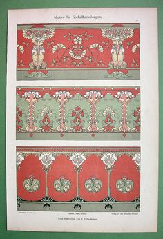 ART NOUVEAU Floral Ornaments - 1898 COLOR German Litho Print Dekorative Vorbilder