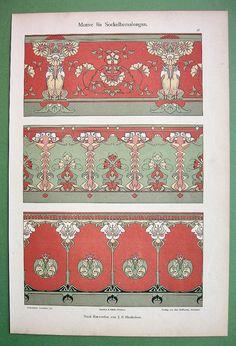 ART NOUVEAU Floral Ornaments - 1898 COLOR German Litho Print Dekorative Vorbilder