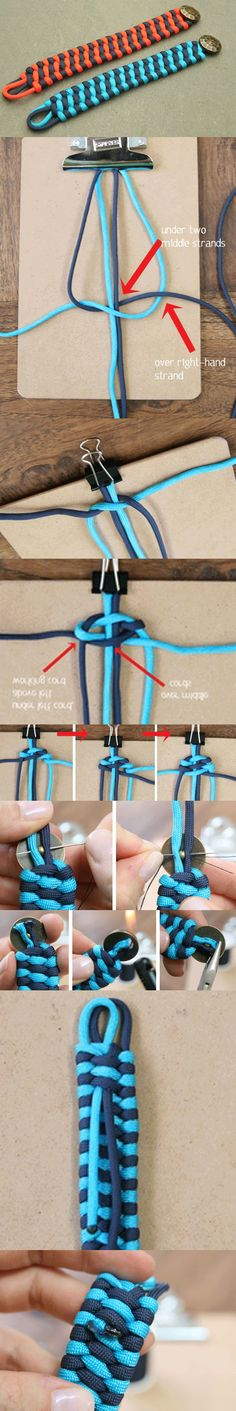 http://www.paracordist.com this pictorial complements my video on the same weave http://youtu.be/WCY2WRyJ6Nk (Single color with side release buckle) and http://youtu.be/u6E1EZIqbEE (dual color explaining how to attach to a metal shackle). Both of my videos use a tuck finishing method like this pin, rather than burn which I also favor #paracord