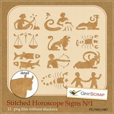Stitched Horoscope Signs No.1 by Giny Scrap